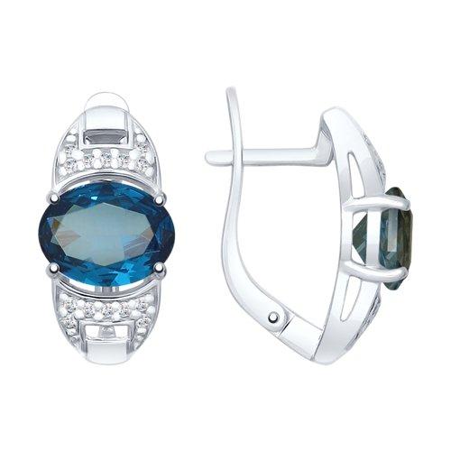Серьги из серебра с синими топазами и фианитами (92021742) - фото