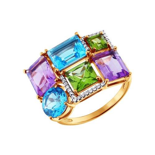 Асимметричное кольцо с полудрагоценными камнями SOKOLOV