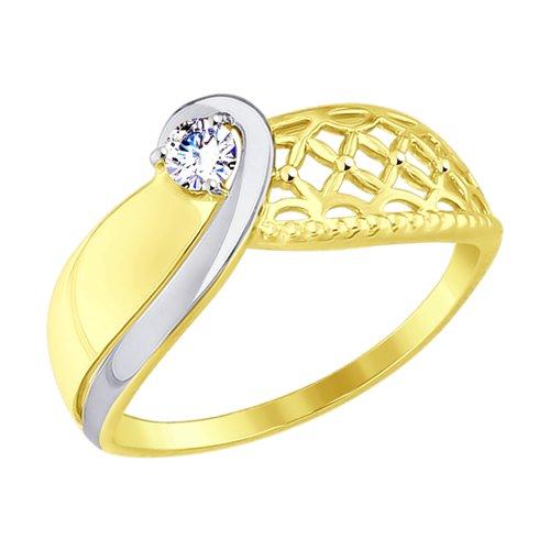 Кольцо из желтого золота с фианитом (017553-2) - фото