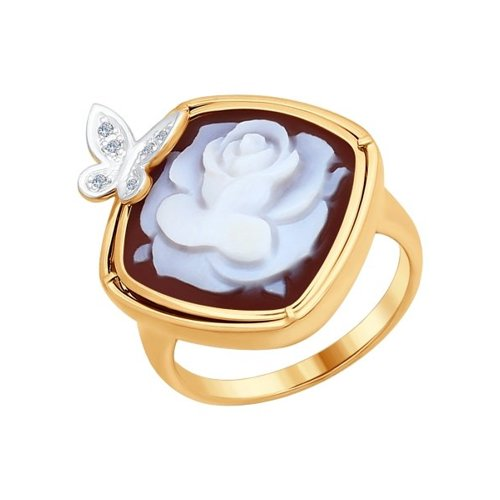 Кольцо из золота с камеей и бриллиантами
