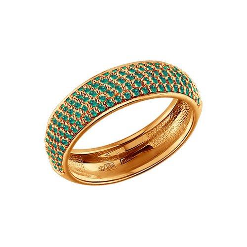 Золотое кольцо с SOKOLOV изумрудной дорожкой