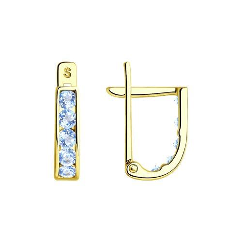 Серьги из желтого золота с фианитами (021500-2) - фото