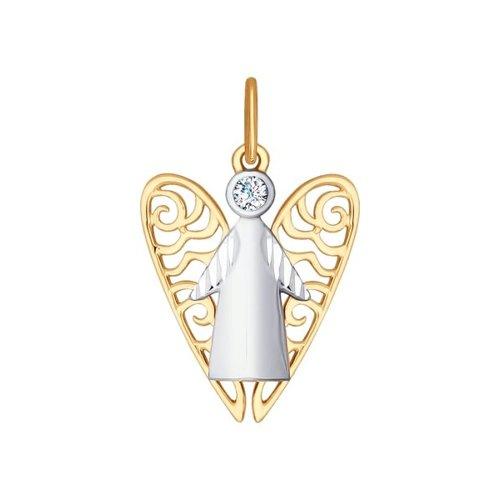 Подвеска «Ангел» из золота с фианитом