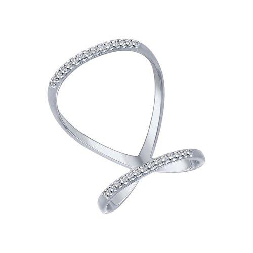 Кольцо из серебра с фианитами (94012025) - фото