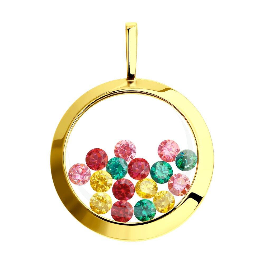 Фото - Подвеска SOKOLOV из желтого золота с минеральным стеклом и жёлтыми, зелеными, красными и розовыми фианитами подвеска sokolov из золота с розовыми зелеными и красными фианитами