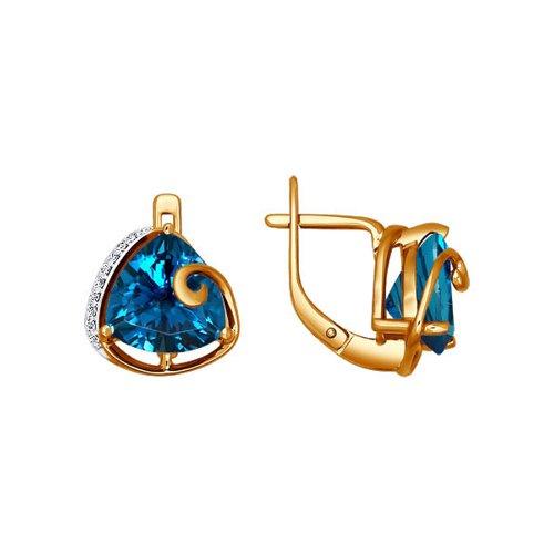 Золотые серьги с тёмно-синим треугольным топазом SOKOLOV