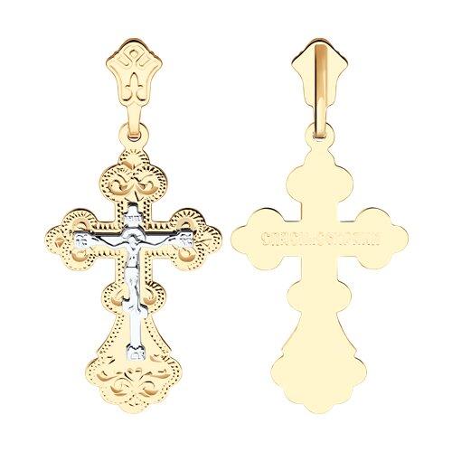 Крест из комбинированного золота с гравировкой (121107) - фото