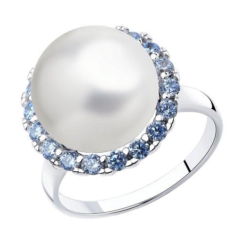 Кольцо из серебра с жемчугом и фианитами (94013093) - фото