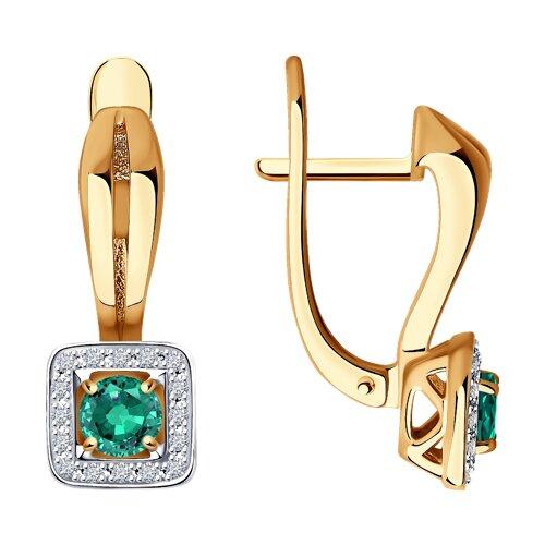 Серьги из золота с бриллиантами и изумрудами (3020435) - фото