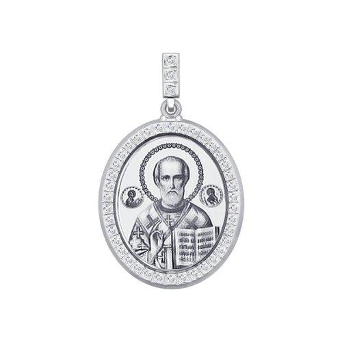 цена Серебряная нательная иконка «Святитель архиепископ Николай Чудотворец» SOKOLOV онлайн в 2017 году