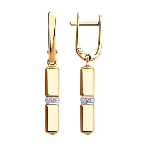 Серьги из красного золота с бриллиантами и керамическими вставками