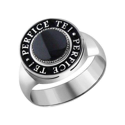 Печатка из серебра с ониксом и надписью на чёрной эмали