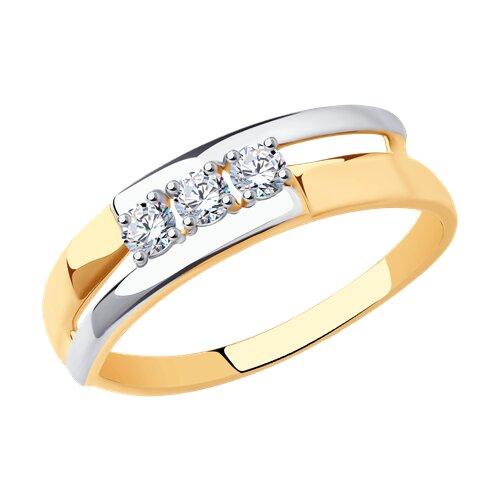 Кольцо из золота с фианитами (017224) - фото