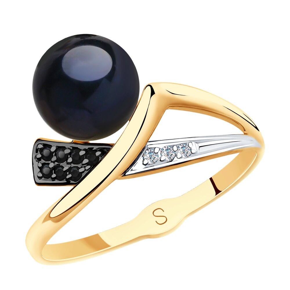 Кольцо SOKOLOV из золота с чёрным жемчугом и фианитами фото