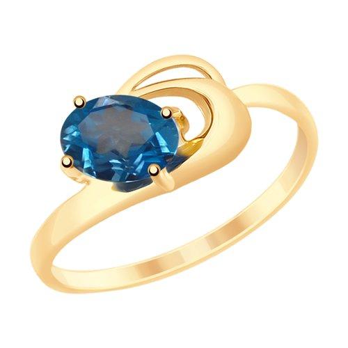 Кольцо из золота с синим топазом (715288) - фото