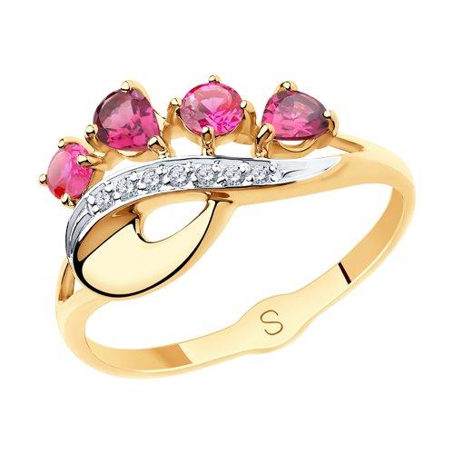 Кольцо из золота с миксом камней (715551) - фото