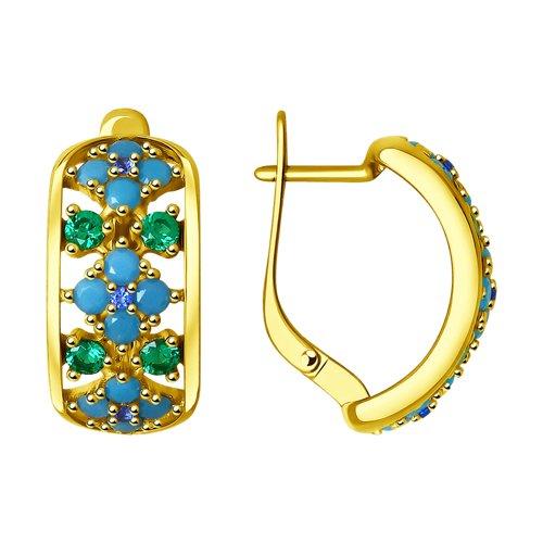 Серьги из золочёного серебра с голубыми ситаллами и фианитами (93020858) - фото