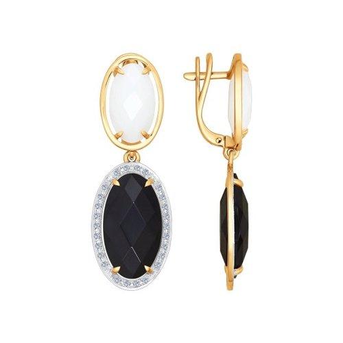 Серьги длинные из золота с бриллиантами и керамикой