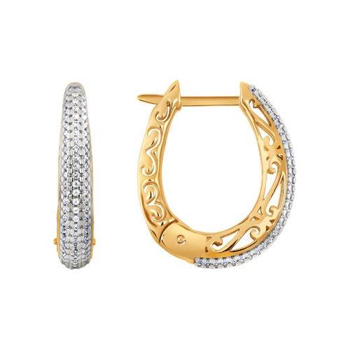 Золотые серьги с узором и тройной дорожкой фианитов (026173) - фото