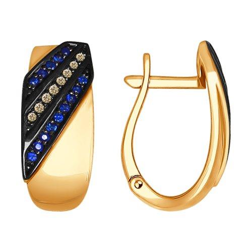 Серьги из золота с коньячными бриллиантами и сапфирами (2020863) - фото