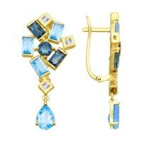 Серьги из желтого золота с голубыми и синими топазами и Swarovski Zirconia