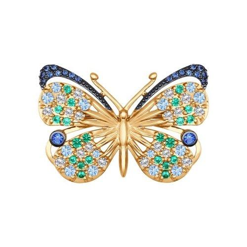 Золотая брошь «Бабочка» SOKOLOV