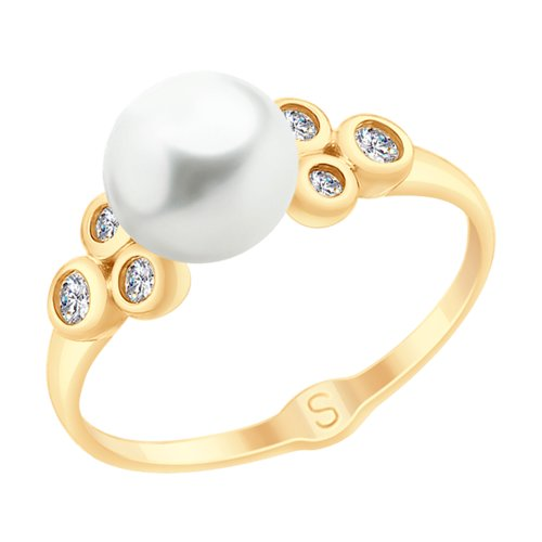 Кольцо из золота с жемчугом и фианитами (791068) - фото