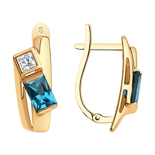 Серьги из золота с синими топазами и Swarovski Zirconia (725507) - фото