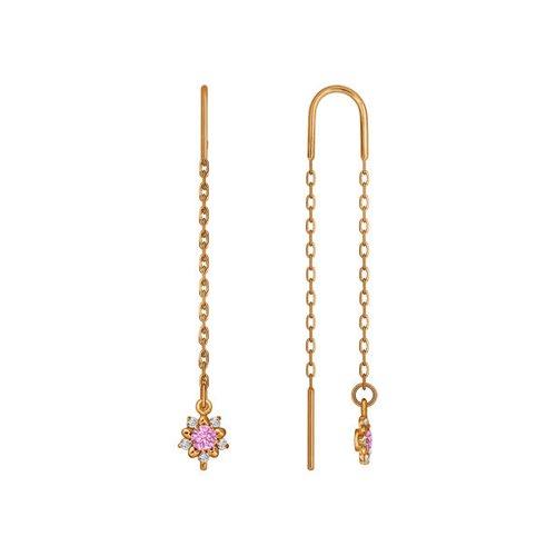 Серьги-цепочки SOKOLOV из золота с розовыми фианитами