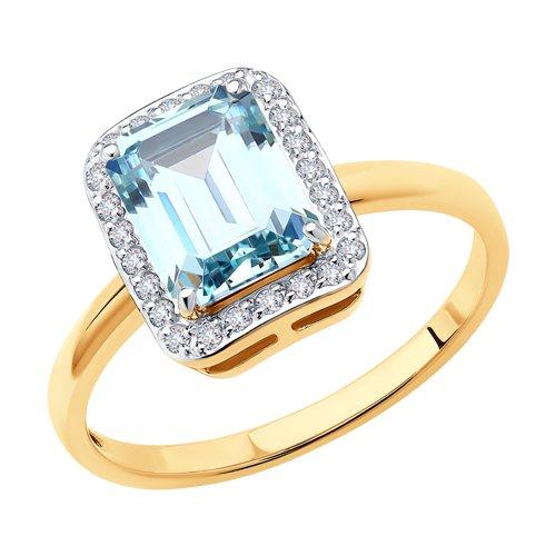 Кольцо из золота с фианитами Сваровски 81010515 SOKOLOV фото