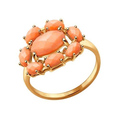 Кольцо из золота с кораллами