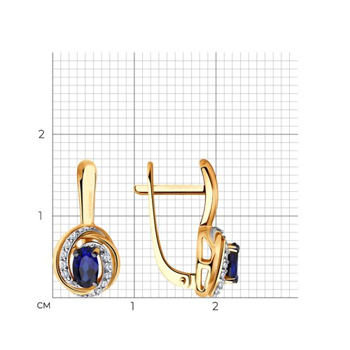 Серьги из золота с бриллиантами и сапфирами 2020966 SOKOLOV фото 2