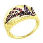 Кольцо из желтого золота с красными, розовыми и сиреневыми фианитами