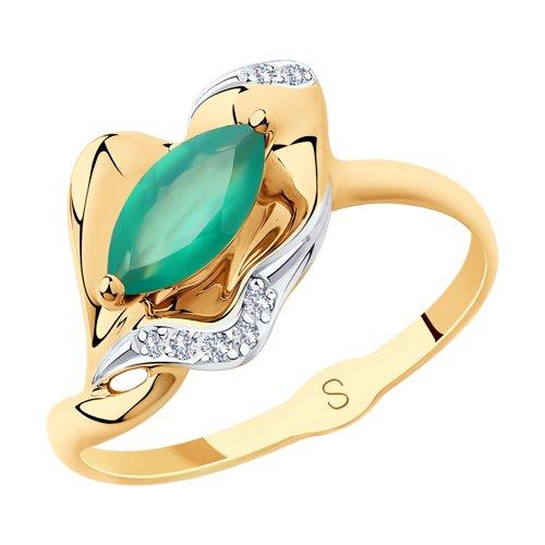 Кольцо из золота с агатом и фианитами (715666) - фото