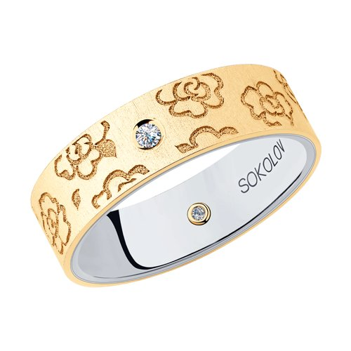 Кольцо из комбинированного золота (1114067-16) - фото