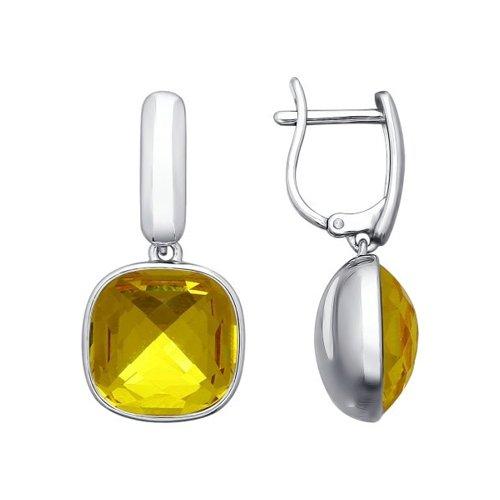 Серьги из серебра с жёлтыми кристаллами swarovski