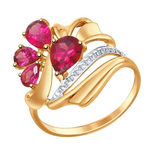 Кольцо из золота с родолитами и фианитами кольцо из золота с родолитами и фианитами