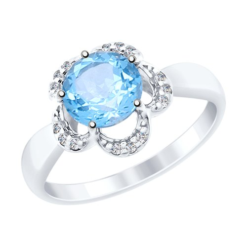 Кольцо из серебра с топазом и фианитами (92011520) - фото
