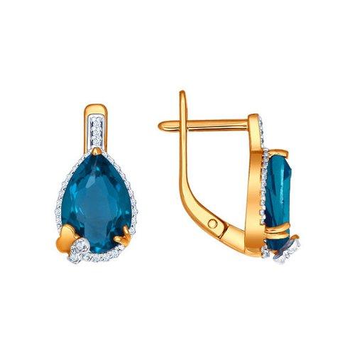 Золотые серьги с тёмно-синим топазом SOKOLOV