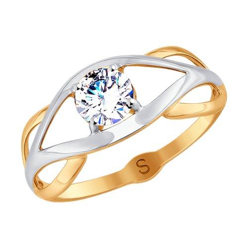 Кольцо из золота с фианитом (017978) - фото