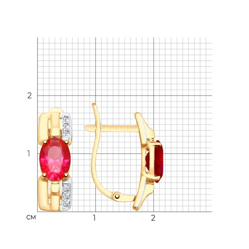 Серьги из золота с красными корунд (синт.) и фианитами 725628 SOKOLOV фото 2