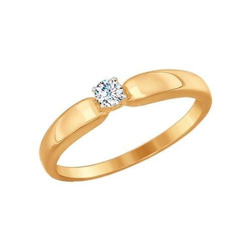 Помолвочное кольцо из золота со Swarovski Zirconia (81010243) - фото