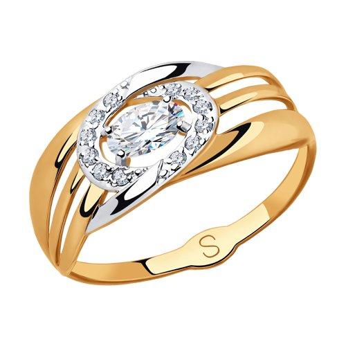 Кольцо из золота с фианитами (018121) - фото