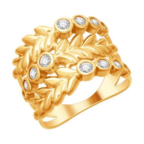 Кольцо из золочёного серебра с фианитами (93010724) - фото