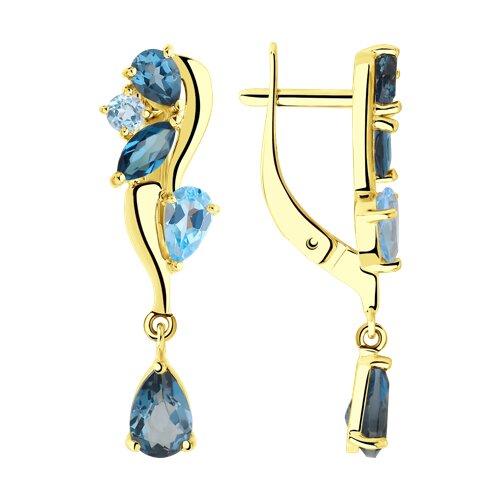 Серьги из желтого золота с голубыми и синими топазами (725822-2) - фото