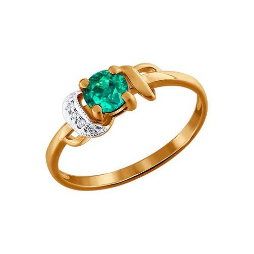 Золотое кольцо с SOKOLOV изумрудом и бриллиантами кольцо с изумрудом золотое к10616и