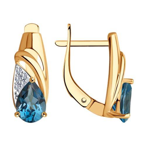 Серьги из золота с синими топазами и фианитами 725598 SOKOLOV фото