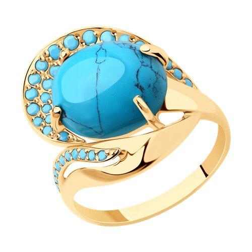 Кольцо из золота с бирюзой (синт.) и голубыми поделочные (714812) - фото