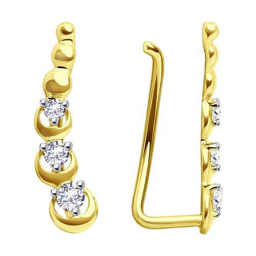 Серьги из желтого золота с фианитами (028123-2) - фото