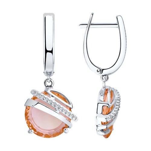 Серьги из серебра с розовыми ситаллами и фианитами (92022035) - фото